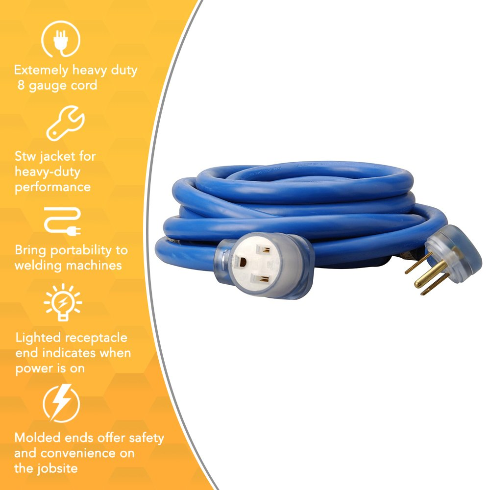 Coleman Cable 19178806 1917 8 3 Stw 6 50 Welder Extension Cord With Welding Receptacle Wiring Prong Plug In Blue 25 Foot Gauge