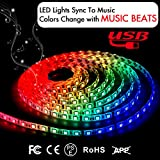 led lights changing color strip - Music LED Strip Lights 6.6FT/2M 5V USB Powered Light Strip 5050 RGB Light Color Changing with Music IP65 Waterproof LED String Lights Kit with IR Controller by DotStone