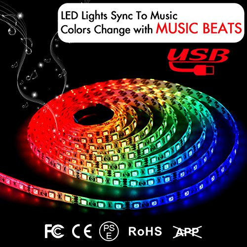 Music LED Strip Lights 2M/6.6FT 5V USB Powered Light Strip 5050 RGB Light Color Changing with Music IP65 Waterproof LED String Lights Kit with IR Controller by DotStone
