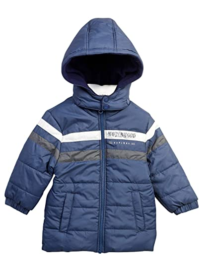 45955a137 Beebay Baby Boy's Polyester Stripe Puffer Jacket (Navy, 1-2 Years ...