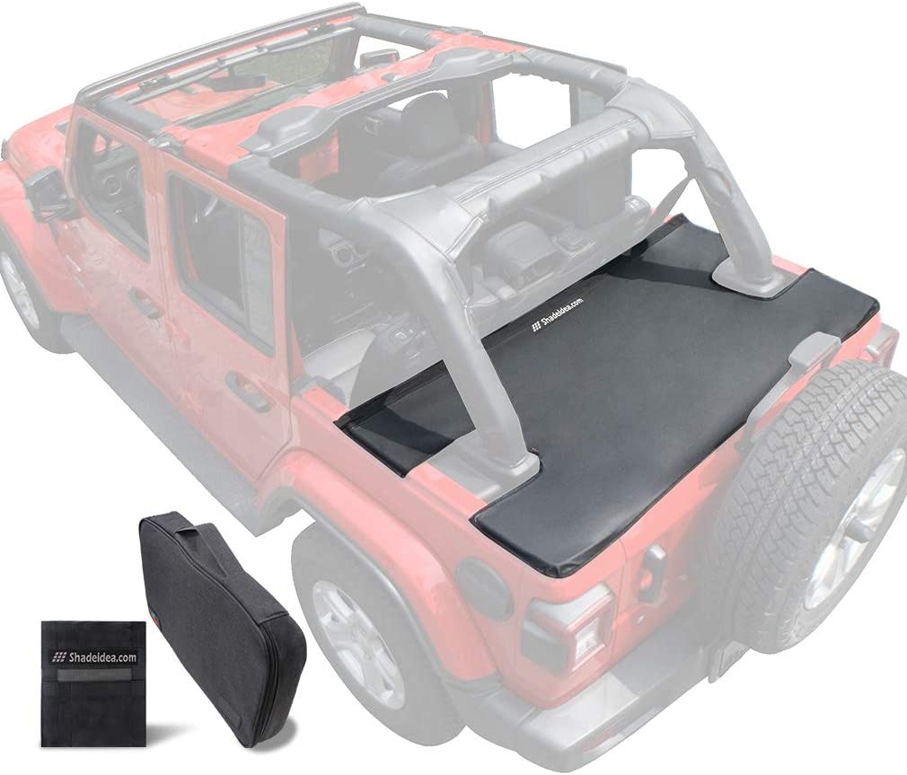Amazon Com Shadeidea Tonneau Cover For Jeep Wrangler Jlu 2018 Current New Model 4 Door Rear Trunk Cover Cargo Vinyl Cover Jl Unlimited Tailgate Ton Cover Black 3 Years Warranty Automotive