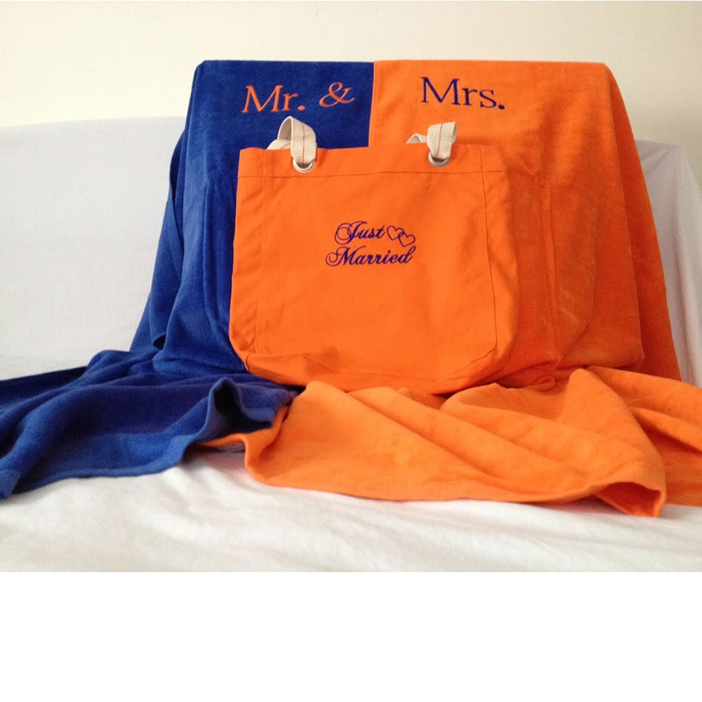 Orange & Blue Mr. & Mrs. Beach Towels and Just Married Tote Set