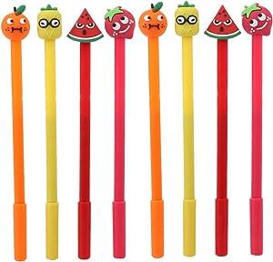 WIN-MARKET Fashion Cute Colorful Kawaii Lovely Cartoon Novelty Creative Lollipop Fruits Watermelon pineapple orange strawberry Gel Ball Pens Office School Supply Stationery(8PCS)