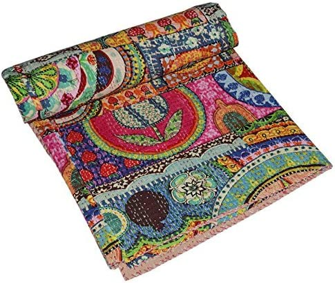 Multi BirdPrint Handmade Kantha Quilt Twin Size Bedspread Blanket Ethnic Traditional Floral Indian Bed Cover Quilt Gudari Ralli Picnic Throw