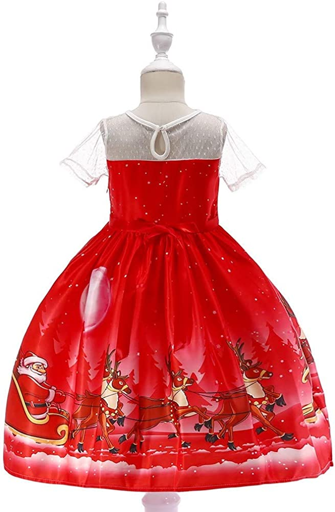 Lurryly❤Christmas Dresses for Girls Kids Outfits Baby Lace Princess Dress Clothes Outfits 1-7T