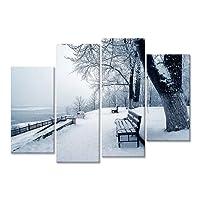 Fangfeen 4 Pannelli Stampati Senza Cornice Lake Side Neve Paesaggio Tessuto Stampato Pittura a Olio Poster Pittura a Olio della Decorazione Immagine