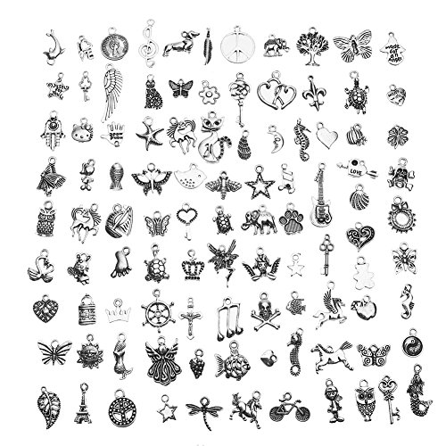 CCINEE Wholesale 100 Pieces Assorted Antique Charms Sliver Pendants for Jewelry Making and Craft Making