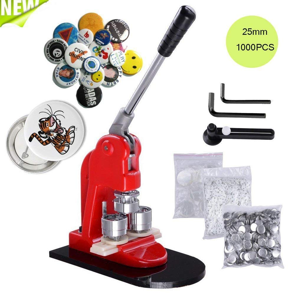 Happybuy Button Maker 1Inch 25mm Button Maker Machine 1000Pcs School DIY Button Badge Make with Button Parts(1000Pcs Button Parts)