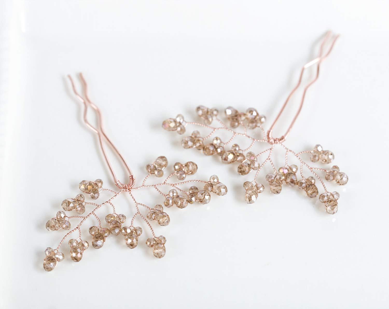 Rose gold hair pins Bride hair pins Crystals hair pins Wedding jewelry Champagne hair pins Bridal hair pins Crystal headpiece Jewelry 8222.