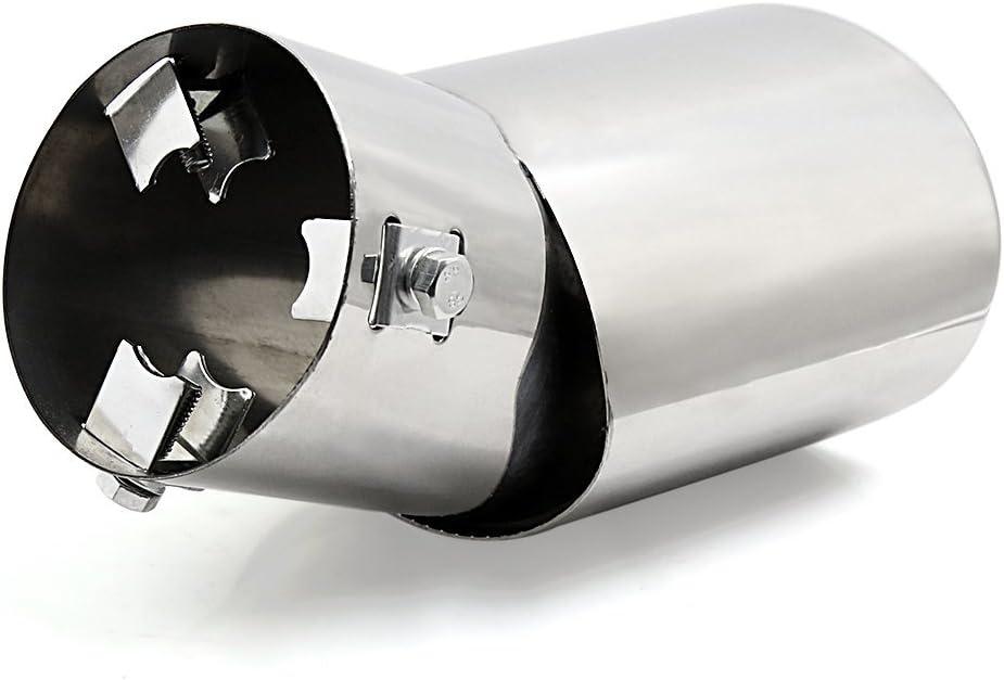 DealMux universal se adapta coche cromo del acero inoxidable curvo de escape de cola extremidad del silenciador de tubo Fit Di/ámetro 3//5 a 1 1//2 pulgadas