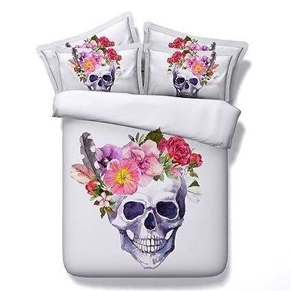 Ge Modelo De Cabeza De Calavera De Flores Blancas Créatrices