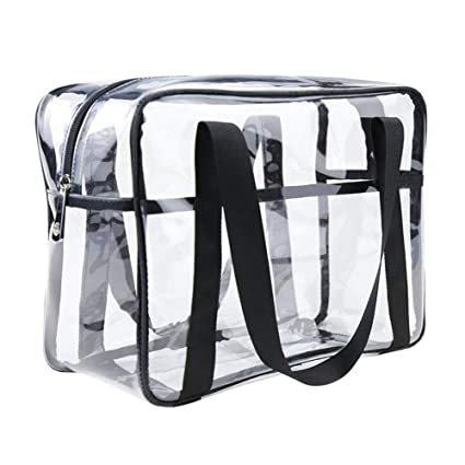 38c46da1c20a ONEGenug Clear Tote Bag Thick PVC Toiletry Bag Cosmetic Travel Case  Waterproof Makeup Artist Large Bag Diaper Luggage Organizer Storage Easy  Clean