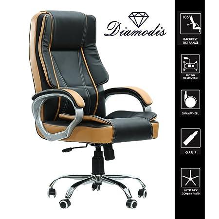 diamodis Vegas Big & Tall Fully Functional Leatherette Office Chair (Beige & Black)