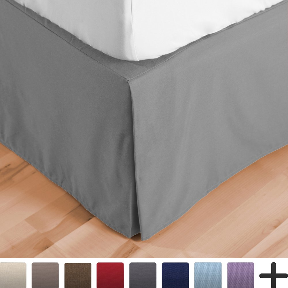Bare Home Bed Skirt Double Brushed Premium Microfiber, 15-Inch Tailored Drop Pleated Dust Ruffle, 1800 Ultra-Soft, Shrink and Fade Resistant (Twin, Light Grey)