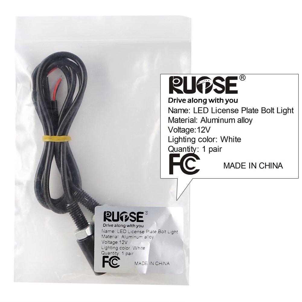 Rupse Paire LED Phare Plaque dImmatriculation Feux Eclairage Blanc 12V pour Moto /& Voiture
