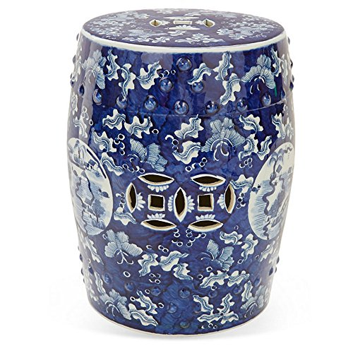 Asian Medallion (Asian Chinese Tradational Blue & White Butterfly Medallion Ceramic Decorative Garden Stool Seat | Home Garden Decor)