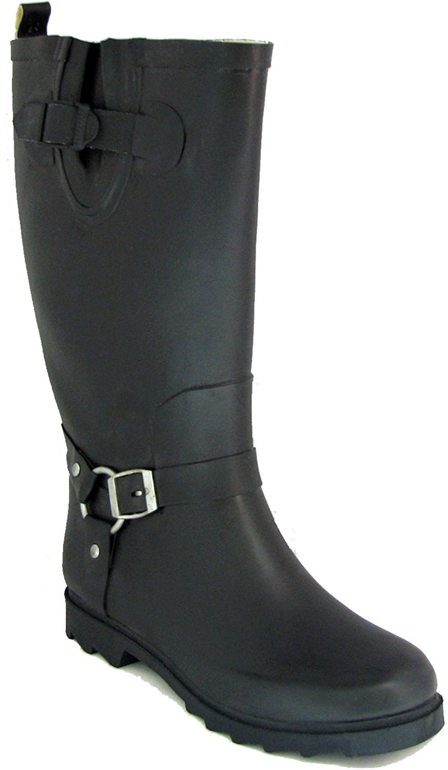 RB Women's Black Rubber Rain Boots Harness Motocycle Mid-Calf Wellies Knee High Snow Boots (8 B(M) US)