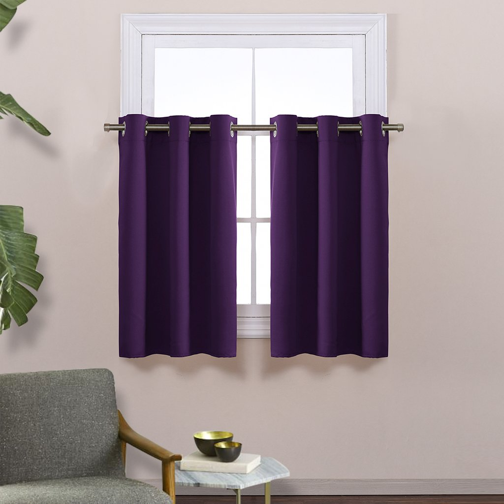 Thermal Insulated Blackout Valances for kitchen Royal Purple