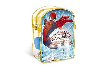 Mondo–Zaino Spiaggia Spiderman con Secchio, Annaffiatoio, misurini e stampini, (28266)