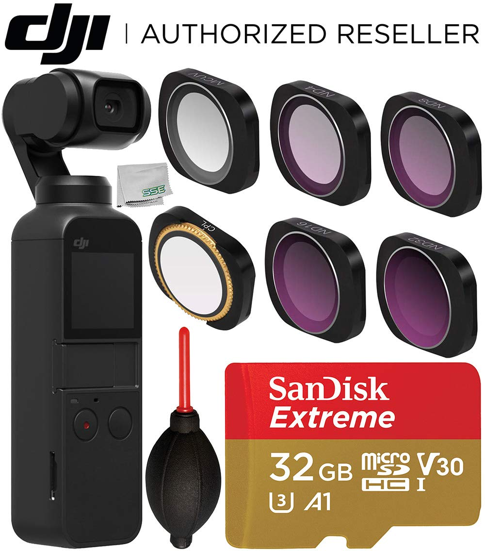 DJI Osmo Pocket Gimbal with Filter Set Starter Accessory Bundle - Includes: SanDisk Extreme 32GB microSDHC Memory Card + Filter Set for OSMO Pocket + Microfiber Cleaning Cloth