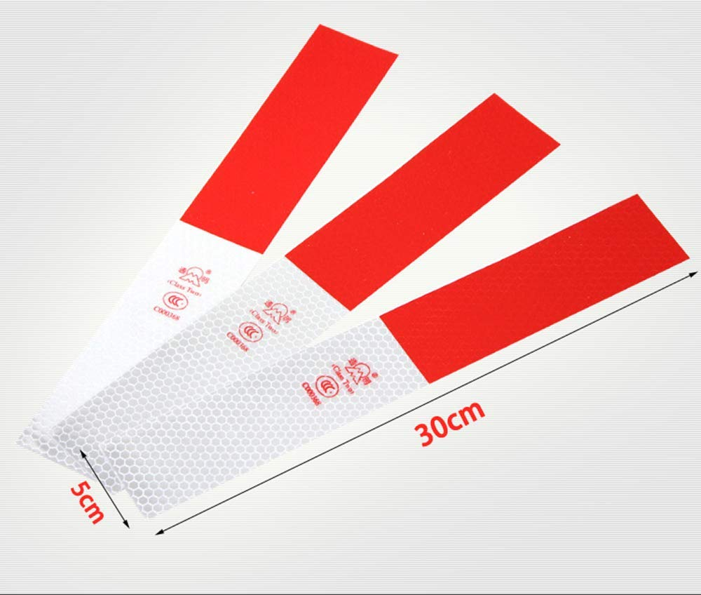MCKhome Waterproof Reflective Tape Reliable High Intensity Warning Tape 12PCS 50mm /× 28cm Red/&White