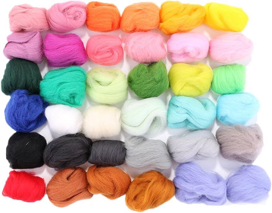 Juego de lana de fieltro Rosenice 36 colores, lana de oveja, para fieltro h/úmedo y fieltro seco, para manualidades