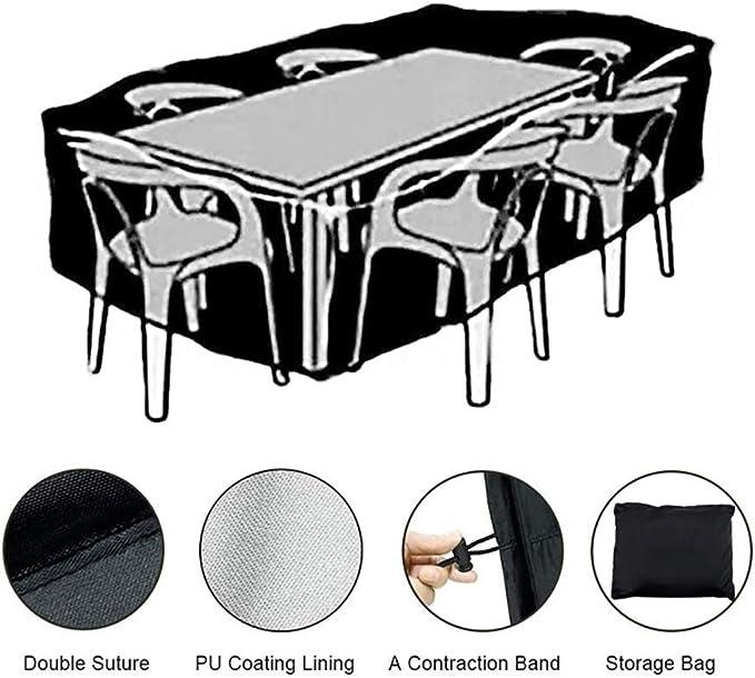 MORIASTER Funda Protectora para Muebles de jardín Funda Muebles Exterior Impermeable Anti-UV Protección Cubierta de Muebles de Mesas Oxford Negro (135 * 135 * 75 cm): Amazon.es: Jardín