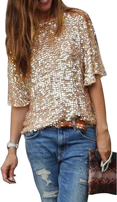 Camiseta para mujer de manga media con lentejuelas brillantes y cuello redondo: Amazon.es: Ropa y accesorios