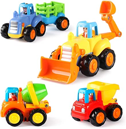 Coogam 4 Pack Friction Powered Cars Construction Vehicles Toy Set Cartoon Push and Go Car Tractor, Bulldozer, Cement Mixer Truck, Dumper for Year Old Boy Girl Kid Gift