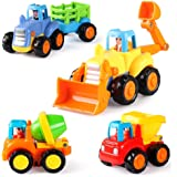 Coogam 4 Pack Friction Powered Cars Construction Vehicles Toy Set Cartoon Push and Go Car Tractor, Bulldozer, Cement…