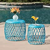 Alameda Nestable Outdoor 15 Inch and 19 Inch Lattice Matte Blue Iron Side Table Set (Matte Blue) Review
