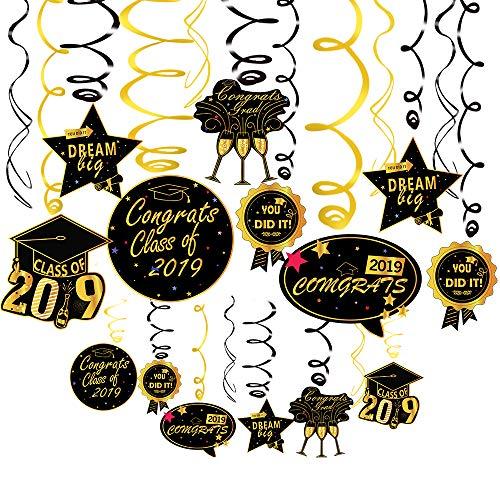 33PCS Large Graduation Hanging Decorations Swirls Kit,Kkonetoy Beautiful Hanging Ceiling and Door Decoration for Graduation Party Supplies 2019,Graduation Decorations for High School Prom Grad Party]()