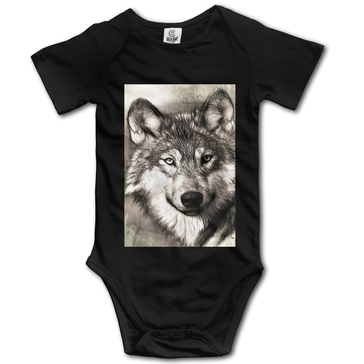 Alpine Full Moon Wolf Boys /& Girls Black Short Sleeve Romper Bodysuit Outfits for 0-24 Months