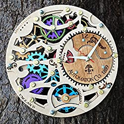 Automaton Gypsy wooden steampunk wall clock unique wall clock personalized gifts, anniversary gift, large wall clock modern wall clock