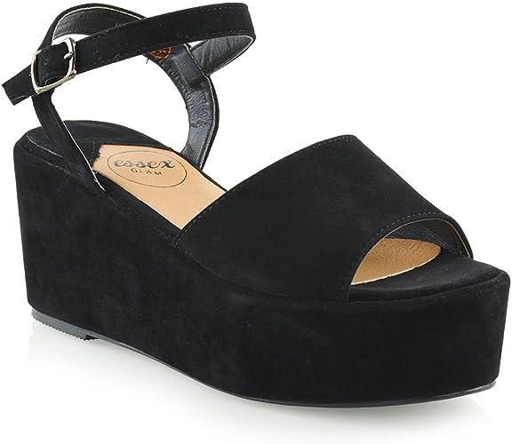 Womens Platform High Wedge Heel Sandals Shoes
