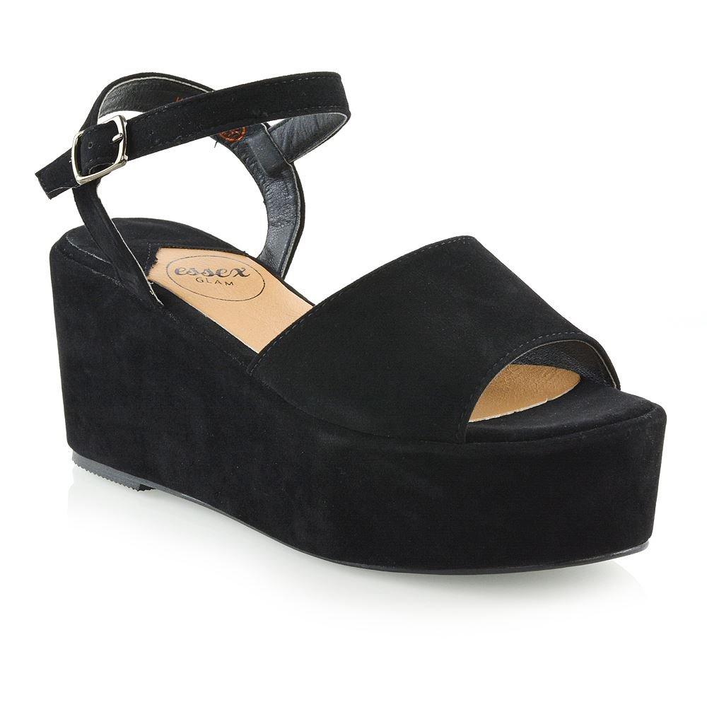 ESSEX GLAM Womens Wedge Heel Sandals Ladies Ankle Strap Peep Toe Platform Shoes (9 B(M) US, Black Faux Suede)