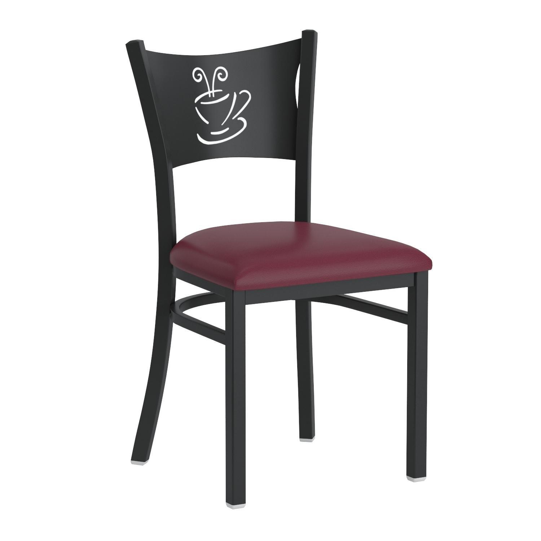 Flash Furniture HERCULES Series Black Coffee Back Metal Restaurant Chair - Burgundy Vinyl Seat