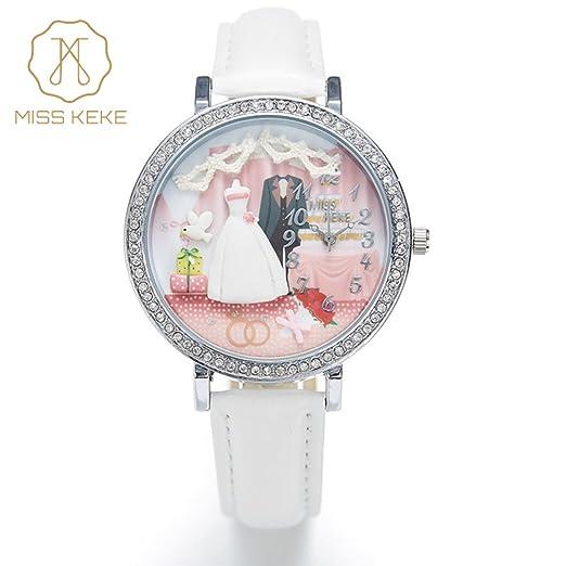 Miss Keke Handwork Dial de arcilla 3d Cartoon Cute Mujeres Reloj moda cuarzo relojes de pulsera Blanco: Amazon.es: Relojes