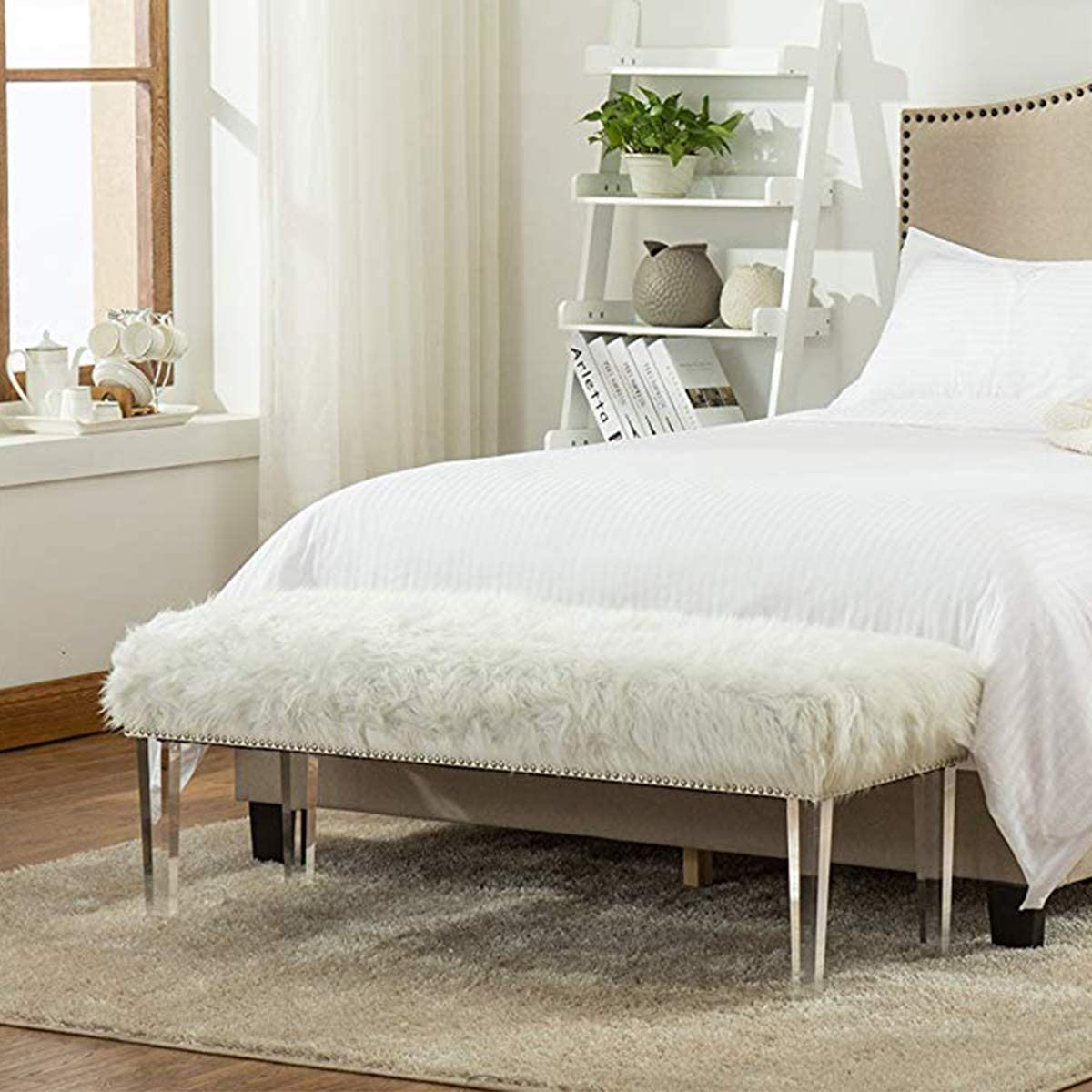 Andeworld White Fur Ottoman Bench with Nailhead Upholstered Bed Bench Footstools Large, White Acrylic Legs