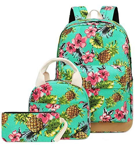 School Backpacks Teen Girls Pineapple Book bags Lunch tote Casual Daypack (Red floral pineapple - water blue)