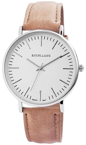Excellanc llanc Mujer Reloj con piel imitations pulsera taupe Blanco Plateado Alemán) 41 mm de