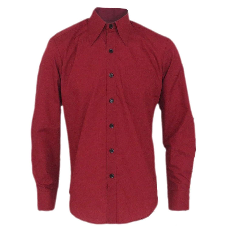 Chenaski 70's Basic Bordeax Retro Shirt With Large Collar