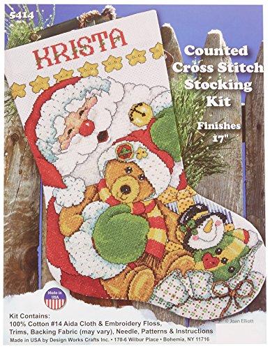 Tobin Santa Stocking Counted Cross Stitch Kit, 17-Inch Long, 14 Count (Santa Stocking Needlepoint)
