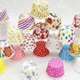 Ancdream 100Pcs Assorted Coloured Size Small Paper Cupcake Liner Muffin Paper Case Greaseproof Baking Cups