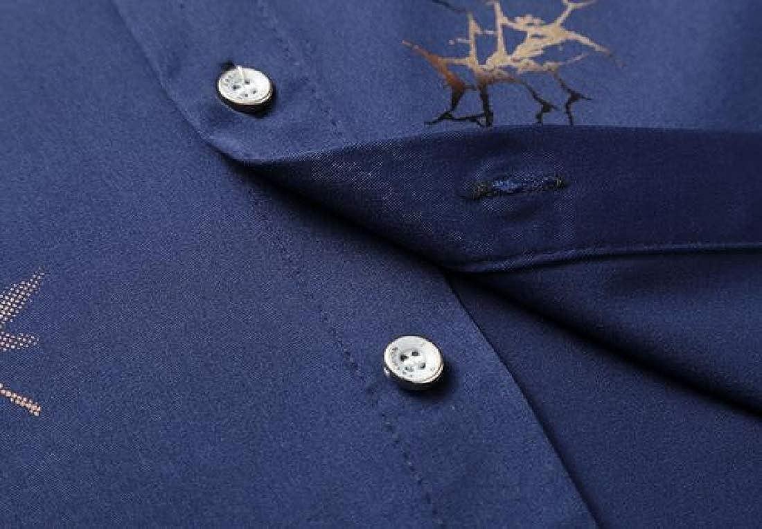 OTW Men Slim Fit Short Sleeve Lapel Neck Summer Printed Button Up Dress Work Shirt