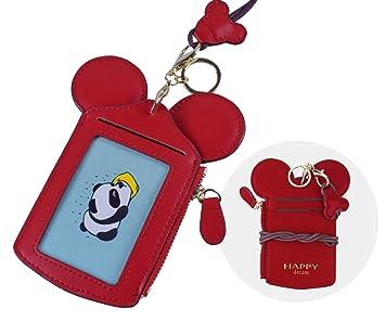 Soporte de Tarjeta ID [LEUYUAN] Identificación Funda Portatarjeta con Correa de Cuello (Rojo)