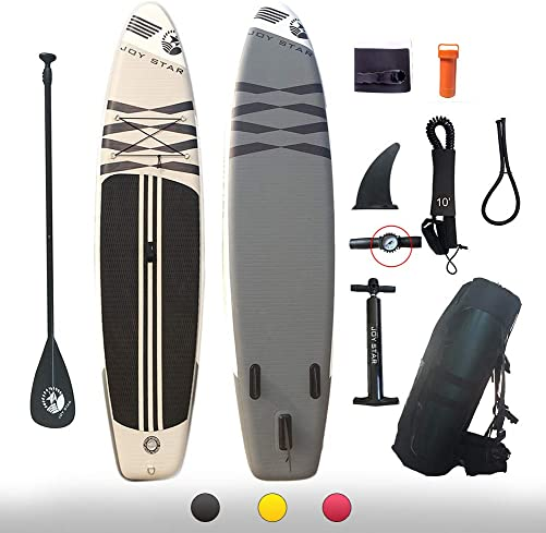 JOY STAR Inflatable Stand Up Paddle Boards 11ft Surf Control with Premium SUP Adjustable Paddle, Waterproof Bag, Leash, Paddle and Hand Pump for Paddling, Surf Control Youth Adult Standing Boat