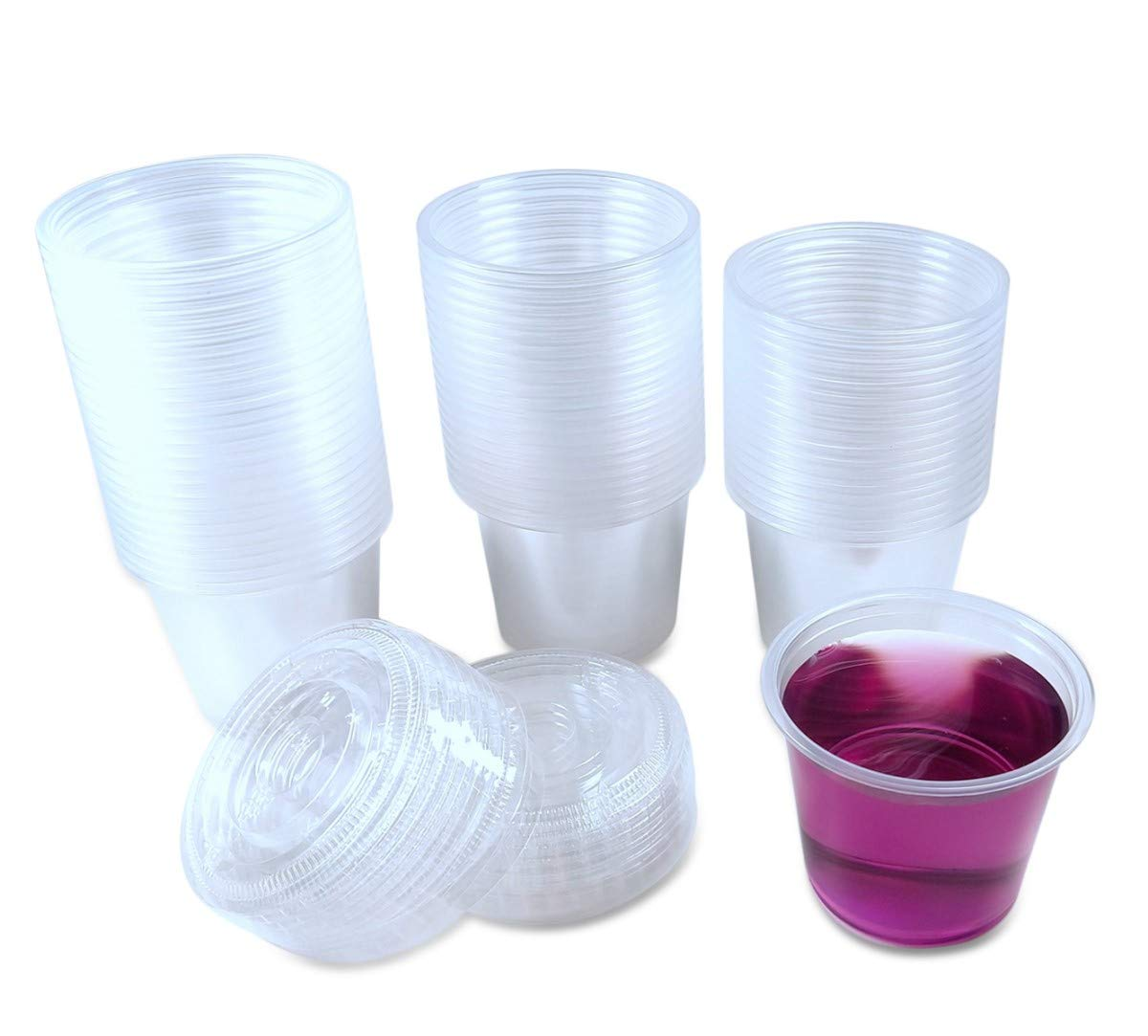 TashiBox 5.5oz-120 Sets Jello Shot Disposable Plastic Lids/Portion Souffle Cups, 5.5oz, Clear by TashiBox