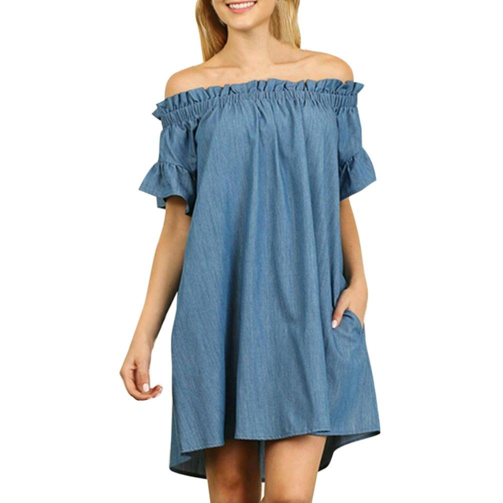 FUNIC Plus Size Women's Off Shoulder Short Sleeve Solid Denim Shirt Dress Tops Sundress Funic-Dresses