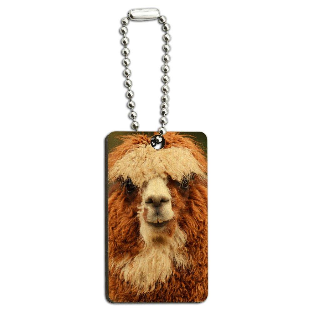 Brown Alpaca - Llama Wood Wooden Rectangle Key Chain